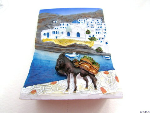 ギリシャ雑貨 【ギリシャ風景立体画マグネットI 海辺のロバ】 インテリア雑貨 エーゲ海の島の街並み