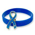 ブルーリボン ピンバッジ ブレスレット セット 大 ギフトボックス付 世界自閉症デー 拉致 日本代表 侍ブルー アウェアネス ピンバッチ