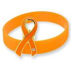 オレンジカラーリボン ピンバッジ ブレスレット セット 大 ギフトボックス付 人種差別 暴力 アウェアネス ピンバッチ