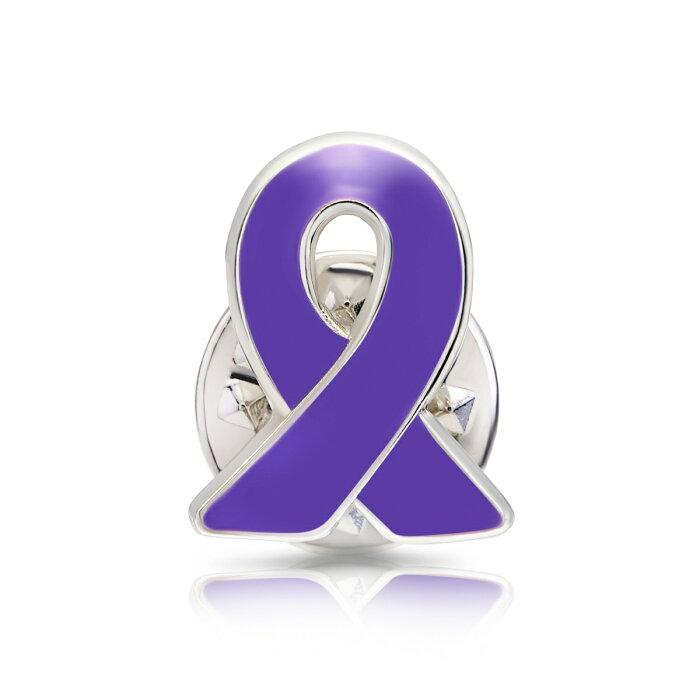 パープルリボン ピンバッジ 小 てんかん 発作 女性への暴力 膵臓がんアウェアネス ピンバッチ ピンバッヂ