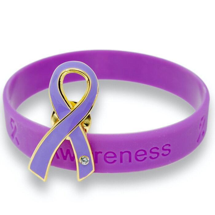 パープルリボン ピンバッジ ブレスレット セット 大 ギフトボックス付 てんかん 発作 女性への暴力 膵臓がんアウェアネス ピンバッチ