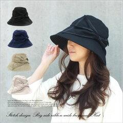 顔周りをしっかりカバーするつば広デザインだからUV対策帽子として最適!ステッチの効いた大き...