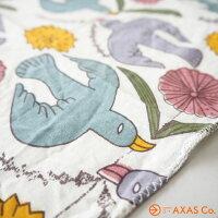 【tdokh】鹿児島睦(かごしままこと)ハンカチ鳥と花カラー[2731553015002/木版プリント]