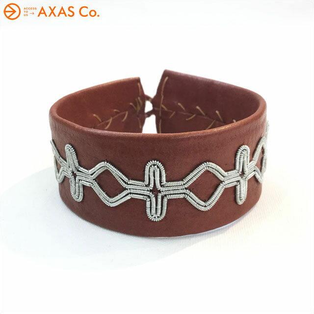 【vaokh】 saami crafts (サーミクラフト)  レザーブレスレット Micki Col.MEDIUM BROWN ミディアムブラウン[ユニセックス アクセサリー ブレスレット ホーンボタン]:AXAS Co. ONLINE COLLECTION