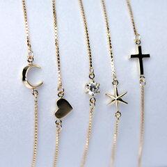 4種類のかわいいアクセントがついた可愛らしいブレスレットムーン(月)・スター(星)・クロス...