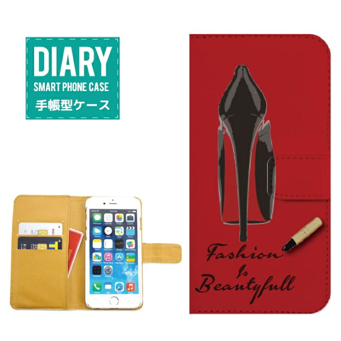 AQUOS CRYSTAL Y 402SH ケース 手帳型 (V) 送料無料 Fashion & Beautiful カード入れ付き ヒール セレブ パンプス 靴 ピンク レッド ブラック オフホワイト