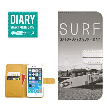 Xperia XZ SOV34 ケース 手帳型 (X) 送料無料 SURF サーフ モノクロSATURDAYS SURF DAY 夏 太陽 夕焼け グレー ブラック ホワイト オシャレ デザイン