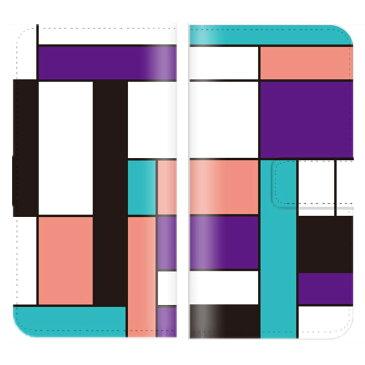 Disney Mobile DM-01G ケース 手帳型 (V) 送料無料 ブロック チェック パターン デザイン モダンアート調 モダン アート ユニセックス ブラック ブルー レッド イエロー ピンク エメラルドグリーン パープル