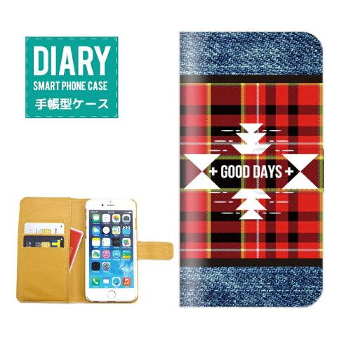 GALAXY A8 SCV32ケース 手帳型 (L) 送料無料 チェック柄 デニム デザイン GOOD DAYS Denim チェック アメカジ オシャレ ブラウン ブルー ピンク グリーン レッド