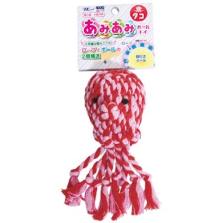 DTアミアミボールトイ01タコDTAM-01/TK【アースペットおもちゃ犬玩具ロープボール】