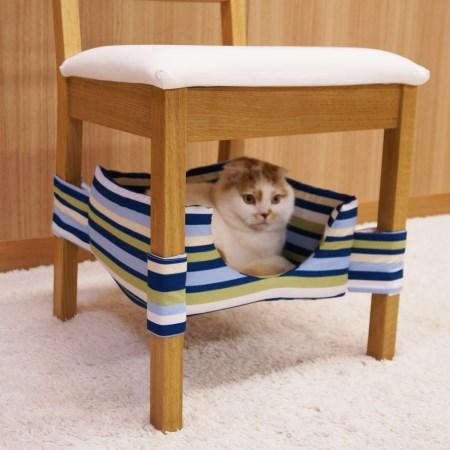 にゃんこの隠れ家ベッド ブルーストライプ【猫 いす あし ベッド キャティーマン】