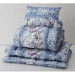 羊毛混掛・敷・まくら3点セット シングル (ガーデン) シングル ブルー