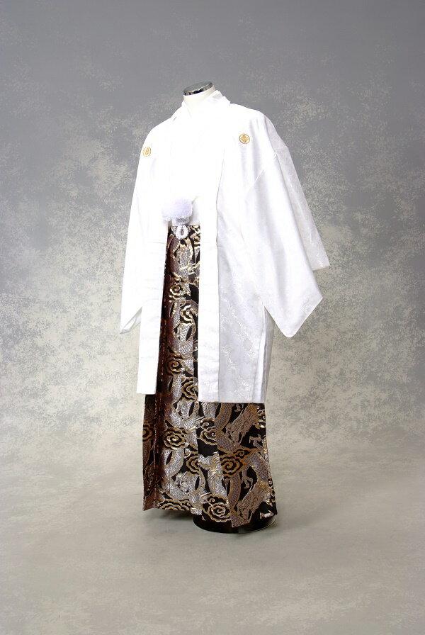 【レンタル】紋付袴レンタル・きものレンタル・男物羽織袴・成人式・卒業式・往復送料無料 白に黒龍の舞!ワンランク上の袴で差をつけろ