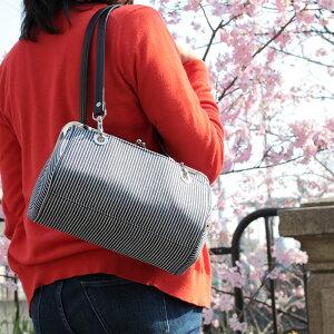 【バッグ】TAWARA型がま口ボストンバッグ【ヒッコリー】<がまぐち/手作り/バッグ/和雑貨/京都/ドラム型>