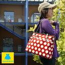 【受注生産品】【バッグ】がま口キャリートートバッグ(大)【帆布・唐草 水玉】| がま口バッグ トート