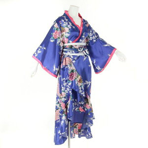 Yosakoi Costume [cwa10-lon-blue] 0006 Blue Blue Kimono Dress: Long Blue Kimono Dress (Small flare sleeves) Japanese pattern Peacock pattern * With obi hook >> Japanese pattern dress One piece Oiran costume dress Cosplay Oiran Japanese pattern dress Japanese pattern One piece Oiran costume Cosplay dress