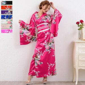 Disfraz de Oiran Kosp [cwa27-lon] 0325 Vestido de kimono: patrón japonés largo (manga larga) Patrón de pavo real con gancho obi Vestido de satén Vestido de cabaret Vestido de traje Kawa Watanabe Patrón japonés Traje japonés Patrón Yosakoi Traje japonés Patrón japonés