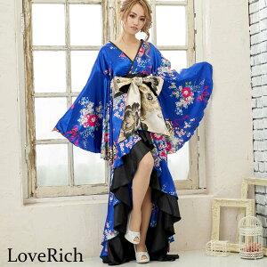 [cwa0680] Satin Japanisches Muster Rüschen Langes Kimono Kleid Kostüm Tanz Yosakoi Oiran Cosplay Cava Kleid