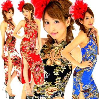 旗袍禮服 c dr6575 2474 性感狹縫黃金跛腳邊花長旗袍