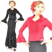 【c66】フラメンコ 衣装 フラメンコカットソー 5087 9523 Mサイズ Lサイズ 社交ダンス ダンス 衣装 トップス パーティー 社交ダンス衣装 Flamenco 大きいサイズあり