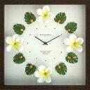 《時計 壁掛け》ハワイアン クロック プルメリア イエロー/額入り絵画・壁掛けアートは、リビングや玄関におすすめのインテリア。かわいい壁飾りはお部屋を癒やしてくれそう。プレゼントにも。02P12Oct15