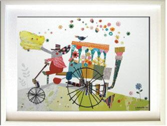 アートフレーム Colobockle ぞうの花車/インテリア 壁掛け 額入り 油絵 ポスター アート アートパネル リビング 玄関 プレゼント モダン アートフレーム おしゃれ LLサイズ