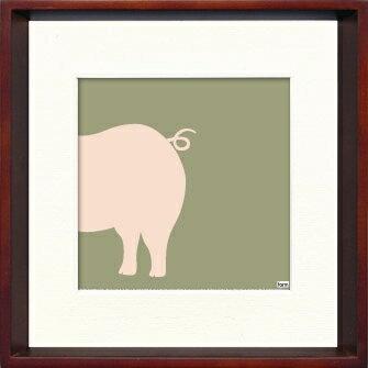 アートフレーム Pig(子ぶた)/ヤスカワ トシアキ/インテリア 壁掛け 額入り 額装込 風景画 油絵 ポスター アート アートパネル リビング 玄関 プレゼント モダン アートフレーム おしゃれ 飾る Mサイズ 巣ごもり