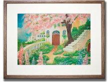 《情景画》花のある庭(坂道なつ)〔アクリル画・水彩画〕