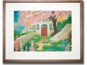 【絵画】花のある庭/427x335x0/M/