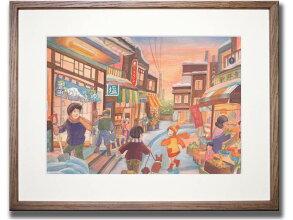 《情景画》冬の商店街(坂道なつ)〔アクリル画・水彩画〕