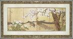 日本画 和風フレーム 狩野永徳「桜と孔雀」/インテリア 壁掛け 額入り 額装込 風景画 油絵 ポスター アート アートパネル リビング 玄関 プレゼント モダン アートフレーム おしゃれ 飾る 5Lサイズ 巣ごもり
