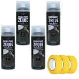 (1セットから送料無料)AZ ラバーペイント ZEQUE 油性 RP-1 マットブラック 400ml×4本+マスキングテープ(18mm×18M)3個/ラバースプレー/ラバーフィルムスプレー/塗ってはがせる塗料