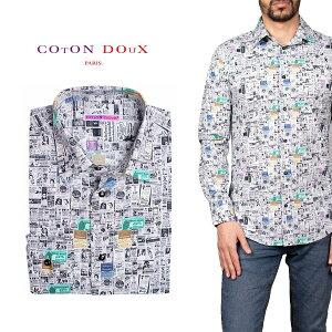 柄シャツ カジュアルシャツ メンズ 長袖 柄シャツ きれいめ 総柄シャツ 派手 オシャレ かわいい アート プリント フランス イタリア レトロ Coton Doux コトンドゥ m91ad1646advertising