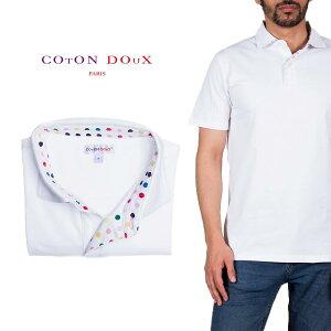 Coton Doux (コトンドゥ) ポロシャツ 半袖 メンズ シンプル 白 マルチドット プリント お洒落 可愛い レトロ フランス イタリア【mp82d70】