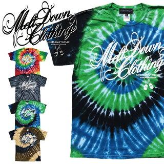 MELTDOWN(メルトダウン)TシャツSCRIPTTIEDYES/STEE(MD17FW-SS01)メンズファッションヒップホップダンスB系ストリート系タイダイスクリプトロゴ