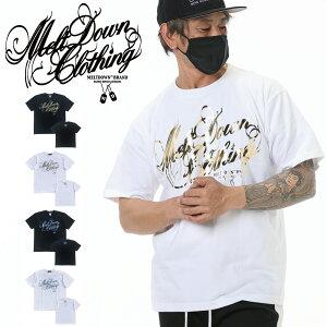 MELTDOWN(メルトダウン) Tシャツ FOIL SCRIPT S/S TEE(MD-SS02) メンズファッション ヒップホップ ダンス B系 ストリート系 スクリプトロゴ 箔 ゴールド シルバー ラインストーン ジルコニア 大きいサイズ 3XL 4L