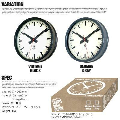 掛け時計 トラヴィス ウォールクロック TRAVIS WALL CLOCK ビメイクス BIMAKES 時計 壁掛け 直径30cm スイープ 静音 ミリタリーグレー ヴィンテージブラック スチール 西海岸 ビンテージ ミリタリー ミッドセンチュリー  【あす楽】