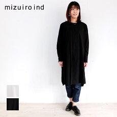 mizuiroindミズイロインドシャツチュニックチュニックシャツレディースJAPAN日本製無地アシンメトリータックシャツチュニック