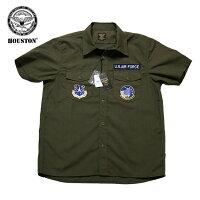 ヒューストンミリタリーシャツHOUSTONMILITARYPATCHSHIRTSPACEミリタリーパッチ半袖シャツUSAIRFORCEエアフォース空軍品番40756
