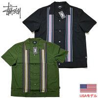 ステューシー半袖シャツオープンカラーシャツアロハシャツワークシャツSTUSSYSTRIPEDKNITPANELSHIRTストライプニット■品番1110093