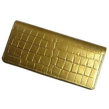 【送料無料】長財布 ワニ型押しゴールド無双長財布 101214 財布 サイフ 牛革使用 日本製