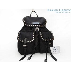 [Good Condition] Prada PRADA Nylon Studs Rucksack Backpack NERO ASTRALE Black Blue TESSUTO Nylon 1BZ811 [Used]