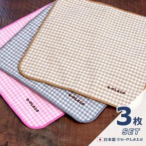 セール 送料無料 <3枚セット> 日本製 ハンカチ ミニサイズ 20×20cm キッズ 男の子 女の子 裏パイル 綿100% ギンガムチェック 刺繍 プチギフト ハンカチギフト