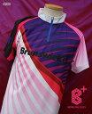【B+(ビープラ) 受注生産】 BP008 パープルスパイラル(Brunswick) 立襟ジッパーシャツ (男女兼用サイズ)