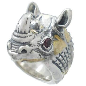 BWL(ビルウォールレザー) ゴールドオーバーレイストーンアイライノ シルバーリング(指輪)