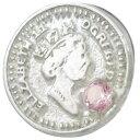 (10月)ピンクトルマリン ホワイト エリザベス コイン シルバーピンバッジ ピンズ 誕生石