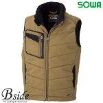 桑和【SOWA】5106防寒ベスト【G.GROUND】ワークエリアを広げる綿100%の守備力大きいサイズ6L