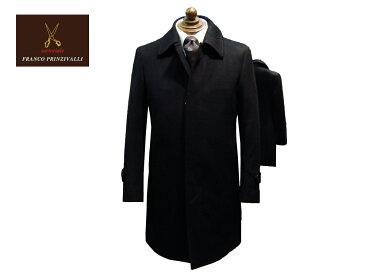 FRANCO PRINZIVALLI 国内縫製 カシミヤ100% ステンカラー・ハーフコート ブラック イタリアのサルトを
