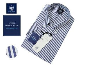 Jプレス J.PRESS(ジェイ・プレス) MEN ボタンダウンシャツ 半袖 ロンドンストライプ ネイビー 定番 形態安定 プレミアムプリーツ 夏モデル あす楽対応 Jプレス メンズ