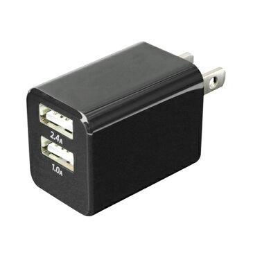 ミヨシ USB-ACアダプタ 2.4A対応 2ポート 黒 IPA-24U/BK
